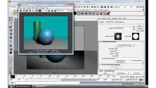 Working with mental ray lights: Maya 2009 Essential Training