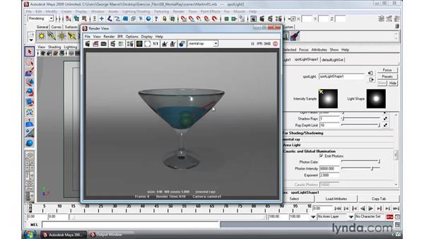 Rendering transparent materials with caustics: Maya 2009 Essential Training