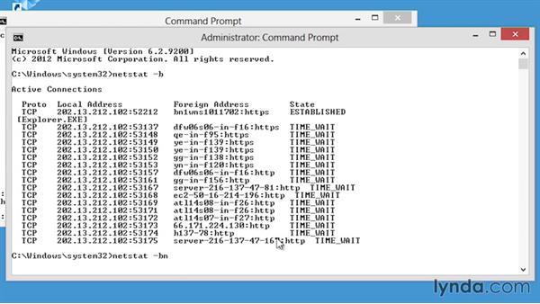 The netstat command: CompTIA Network+ Exam Prep (N10-006) Part 4: Making TCP/IP Work