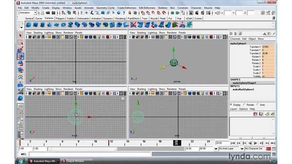 Creating and adjusting keys (keyframes): Maya 2009 Essential Training