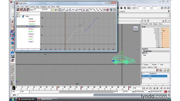 Modifying keys in the Graph editor: Maya 2009 Essential Training