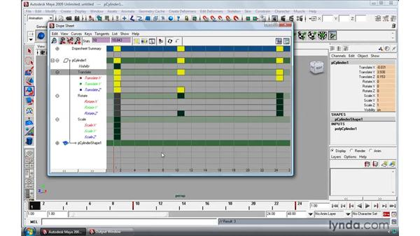 Modifying keys in the Dope Sheet: Maya 2009 Essential Training