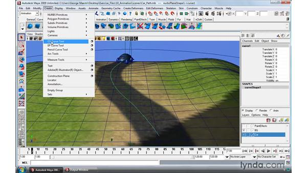 Animating objects along paths: Maya 2009 Essential Training