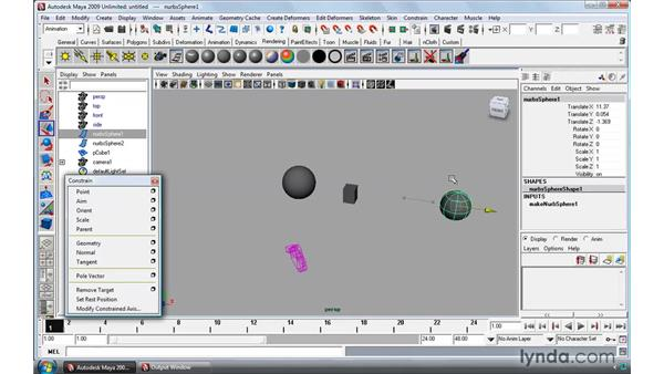 Animating with constraints: Maya 2009 Essential Training