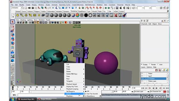 Adding sound to animations: Maya 2009 Essential Training