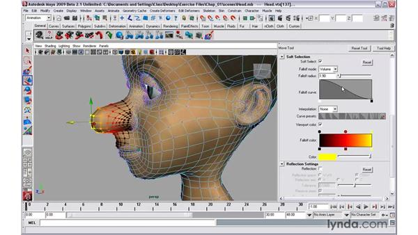 Working with the new soft selection tools: Maya 2009 New Features