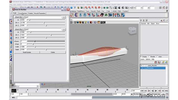 Using Muscle Builder to sculpt deformable muscles: Maya 2009 New Features