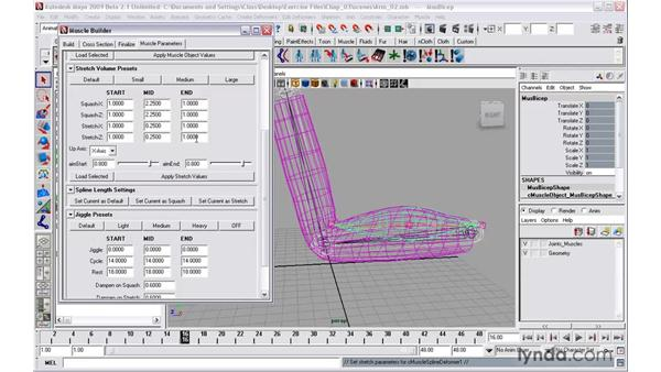 Modifying muscle bulge and jiggle using Muscle parameters: Maya 2009 New Features
