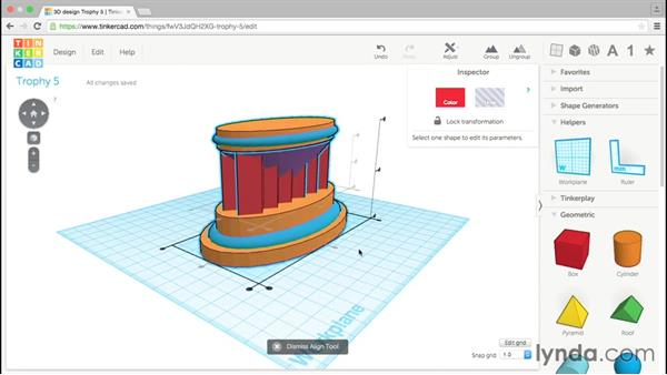 Aligning shapes: Tinkercad: Modeling Custom Designs for 3D Printing