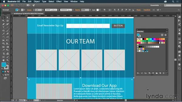 Applying colors to your mockup: Illustrator CC for Web Design: Aesthetics
