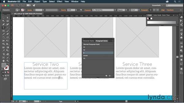 Applying and modifying styles: Illustrator CC for Web Design: Aesthetics