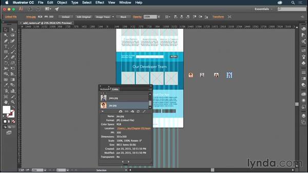 Placing photos into Illustrator: Illustrator CC for Web Design: Aesthetics