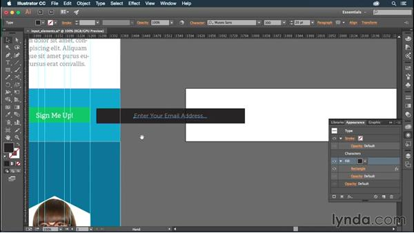 Adding input elements to your page: Illustrator CC for Web Design: Aesthetics