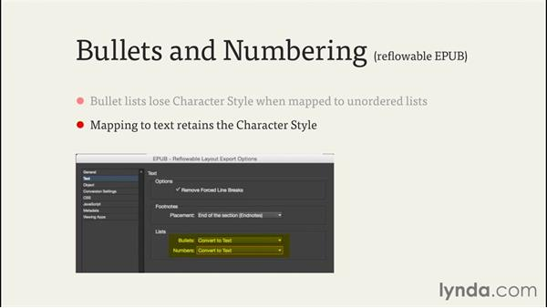 Inserting bullets: InDesign CC EPUB Typography