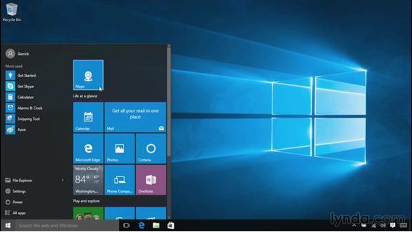 The Start menu: Windows 10 New Features
