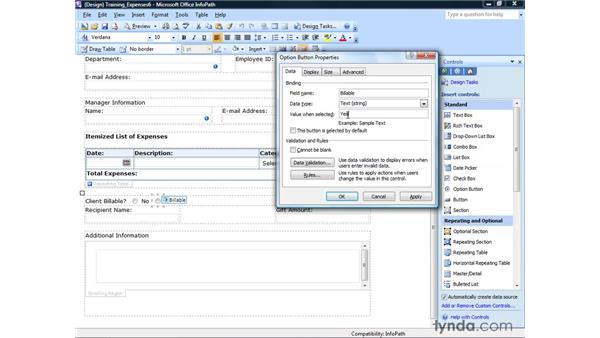 Using checkboxes and option buttons: InfoPath 2007 Essential Training