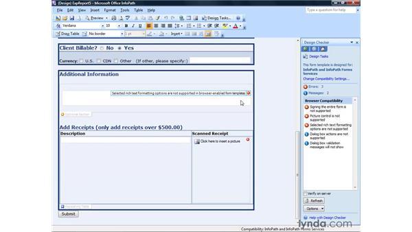 Using the design checker: InfoPath 2007 Essential Training