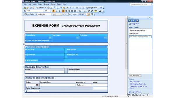 Creating a print version of a form: InfoPath 2007 Essential Training