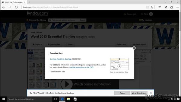 Using the exercise files: Windows 10 Essential Training