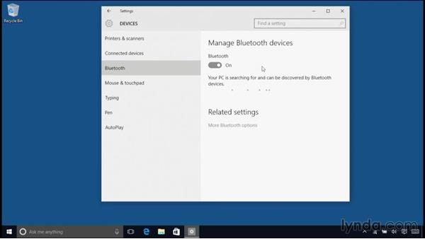 Configuring a Bluetooth keyboard, mouse, and other periperals: Windows 10 Essential Training