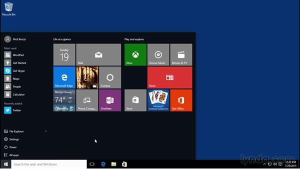 Launching applications from the Start menu: Windows 10 Essential Training
