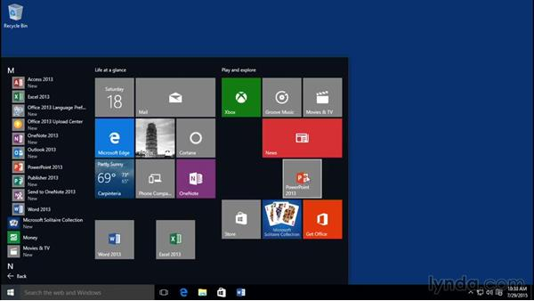 Pinning applications to the Start menu and taskbar and