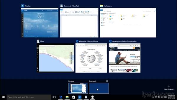 Managing several desktops using Task View: Windows 10 Essential Training