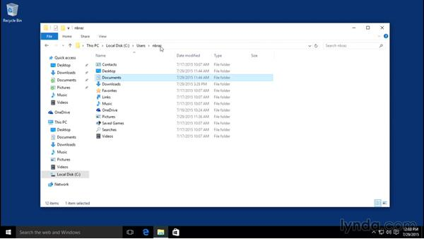 Understanding essential folder structure, including the user folder: Windows 10 Essential Training