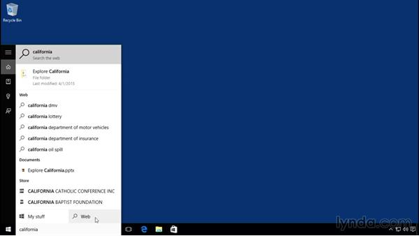 Searching with Cortana: Windows 10 Essential Training