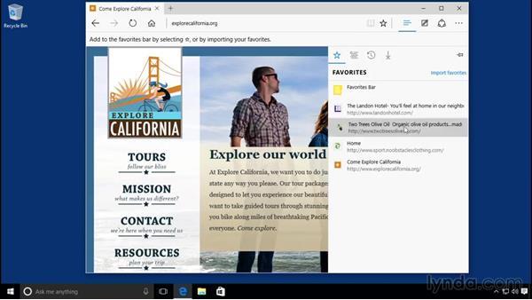 Bookmarking important websites: Windows 10 Essential Training