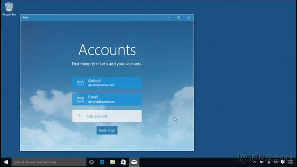 Linking online accounts to Mail, People, and Calendar: Windows 10 Essential Training