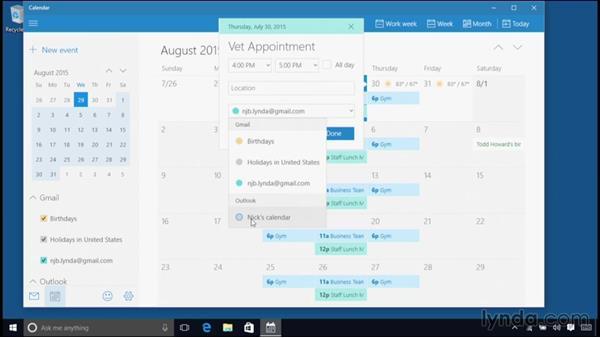 Using the Calendar: Windows 10 Essential Training