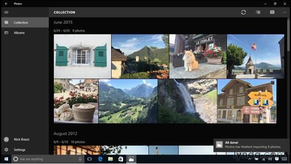 Browsing and editing photos: Windows 10 Essential Training
