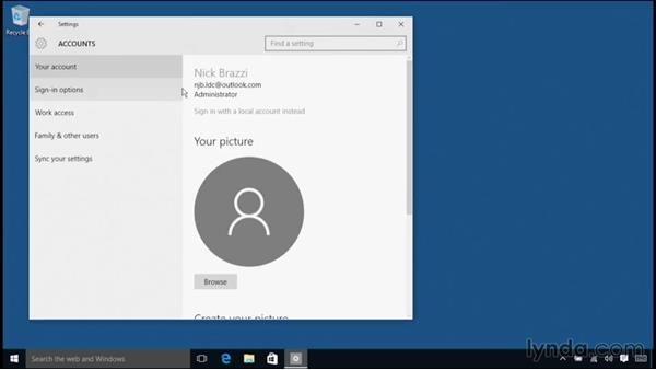 Changing your login account type: Windows 10 Essential Training