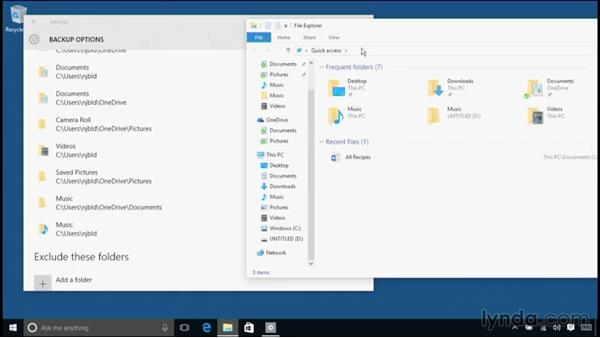 Setting up a backup with the File History tool: Windows 10 Essential Training