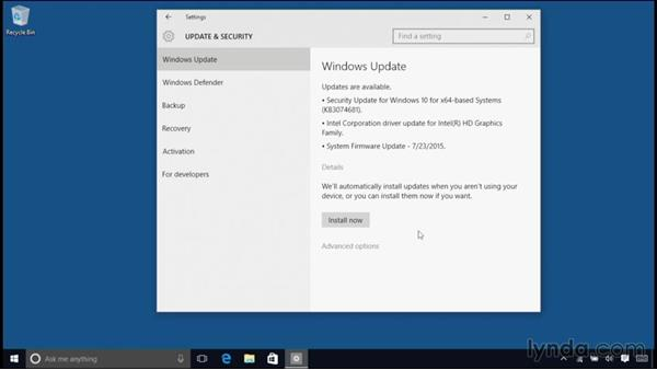 Configuring Windows updates: Windows 10 Essential Training