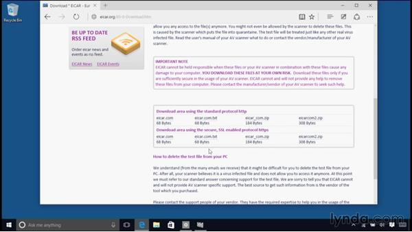 Using Windows Defender to protect against malware: Windows 10 Essential Training