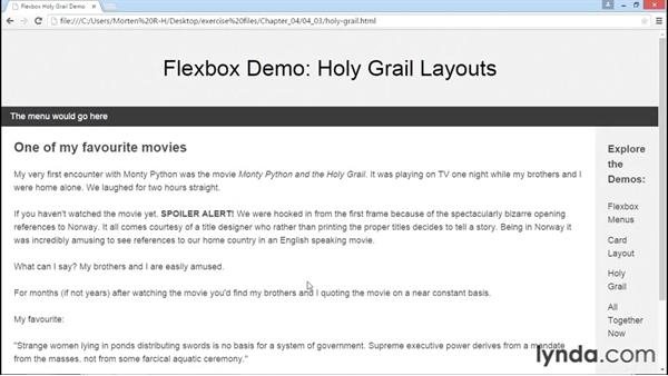 Styling the holy grail layout with Flexbox: Advanced Responsive Layouts with CSS Flexbox