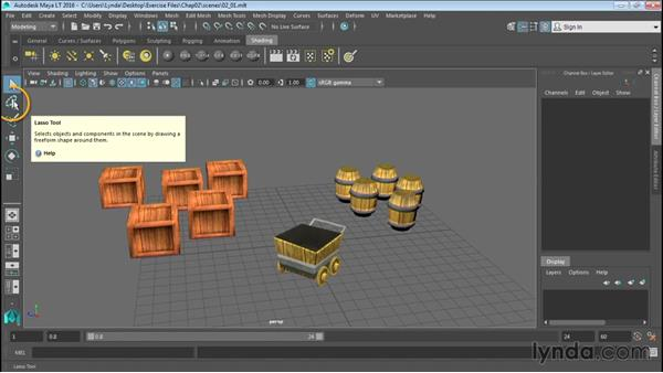 Selecting objects: Up and Running with Maya LT