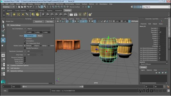 Rotating, scaling, and pivots: Up and Running with Maya LT