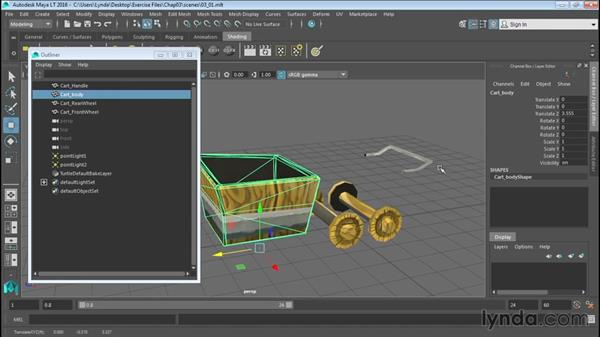 Creating hierarchies in the Outliner: Up and Running with Maya LT