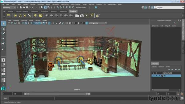 Organizing scenes with layers: Up and Running with Maya LT