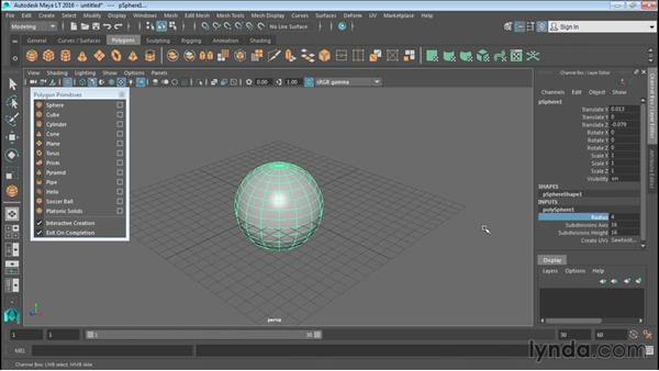Creating polygonal objects: Up and Running with Maya LT