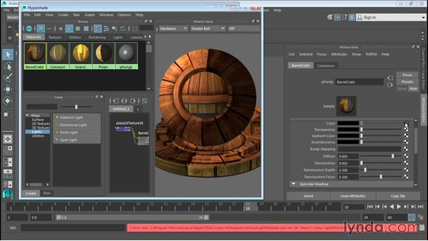 Working with the Hypershade window: Up and Running with Maya LT