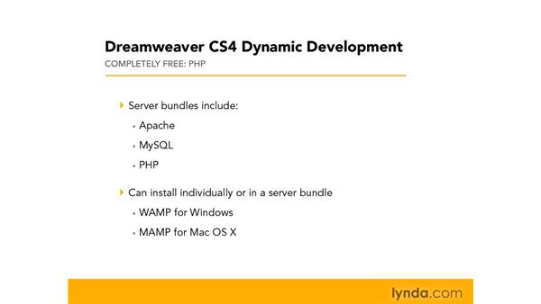 Selecting an application server: Dreamweaver CS4 Dynamic Development