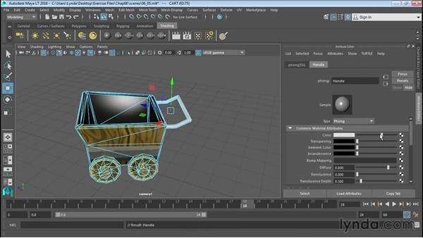 Applying multiple materials to polygonal objects: Up and Running with Maya LT