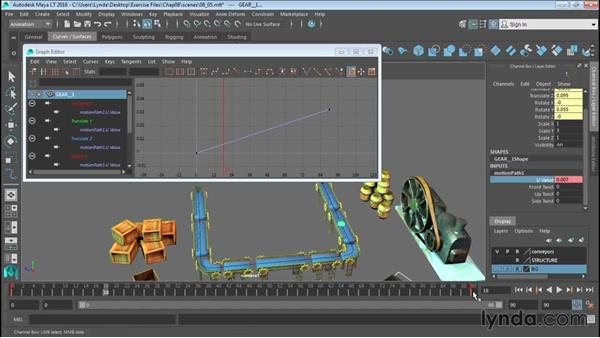 Animating objects along spline paths: Up and Running with Maya LT