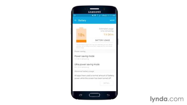 Understanding the power-saving modes: Samsung Galaxy S6 and S6 Edge Essential Training