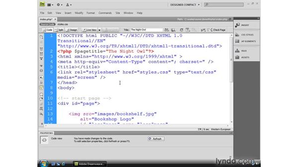 Inserting simple PHP commands: Dreamweaver CS4 Dynamic Development
