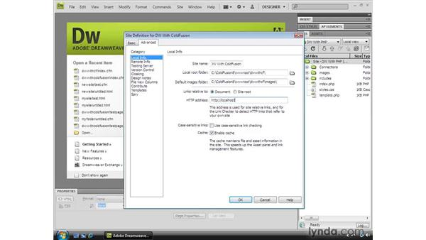 Defining a Dreamweaver site: Dreamweaver CS4 Dynamic Development